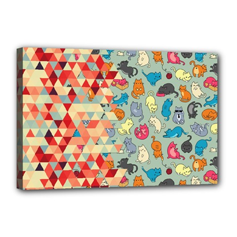 Hipster Triangles And Funny Cats Cut Pattern Canvas 18  X 12  by EDDArt