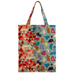 Hipster Triangles And Funny Cats Cut Pattern Classic Tote Bag by EDDArt