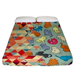 Hipster Triangles And Funny Cats Cut Pattern Fitted Sheet (queen Size) by EDDArt