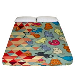 Hipster Triangles And Funny Cats Cut Pattern Fitted Sheet (king Size) by EDDArt