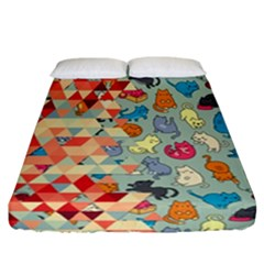 Hipster Triangles And Funny Cats Cut Pattern Fitted Sheet (california King Size)