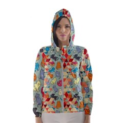 Hipster Triangles And Funny Cats Cut Pattern Hooded Windbreaker (women) by EDDArt
