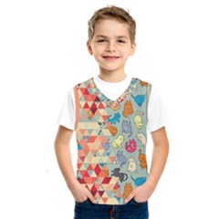 Hipster Triangles And Funny Cats Cut Pattern Kids  Sportswear by EDDArt