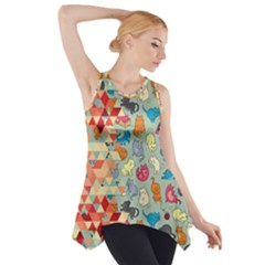 Hipster Triangles And Funny Cats Cut Pattern Side Drop Tank Tunic by EDDArt
