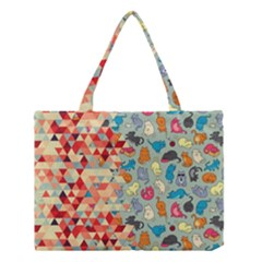 Hipster Triangles And Funny Cats Cut Pattern Medium Tote Bag by EDDArt