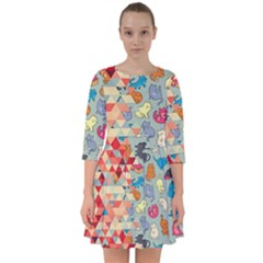Hipster Triangles And Funny Cats Cut Pattern Smock Dress by EDDArt