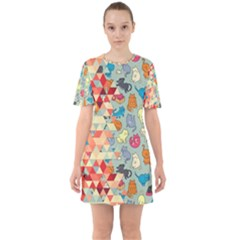 Hipster Triangles And Funny Cats Cut Pattern Sixties Short Sleeve Mini Dress by EDDArt