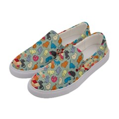 Hipster Triangles And Funny Cats Cut Pattern Women s Canvas Slip Ons by EDDArt