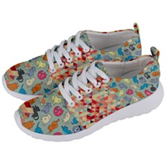 Hipster Triangles And Funny Cats Cut Pattern Men s Lightweight Sports Shoes by EDDArt