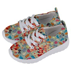 Hipster Triangles And Funny Cats Cut Pattern Kids  Lightweight Sports Shoes by EDDArt