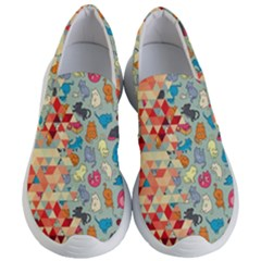 Hipster Triangles And Funny Cats Cut Pattern Women s Lightweight Slip Ons by EDDArt