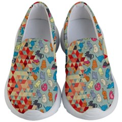 Hipster Triangles And Funny Cats Cut Pattern Kid s Lightweight Slip Ons by EDDArt