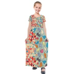 Hipster Triangles And Funny Cats Cut Pattern Kids  Short Sleeve Maxi Dress