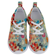 Hipster Triangles And Funny Cats Cut Pattern Running Shoes by EDDArt