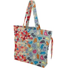 Hipster Triangles And Funny Cats Cut Pattern Drawstring Tote Bag by EDDArt