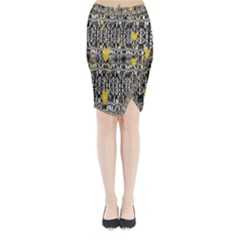 Zig Zag Stretched Goldsmere Gold Triangles Design By Kiekiestrickland  Midi Wrap Pencil Skirt