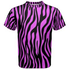 Zebra Stripes Pattern Trend Colors Black Pink Men s Cotton Tee by EDDArt