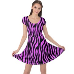 Zebra Stripes Pattern Trend Colors Black Pink Cap Sleeve Dress