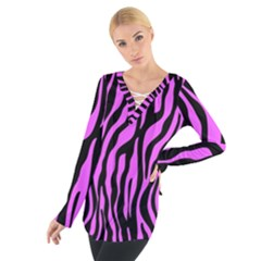Zebra Stripes Pattern Trend Colors Black Pink Tie Up Tee by EDDArt