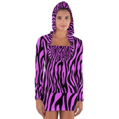 Zebra Stripes Pattern Trend Colors Black Pink Long Sleeve Hooded T-shirt by EDDArt