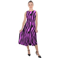Zebra Stripes Pattern Trend Colors Black Pink Midi Tie Back Chiffon Dress