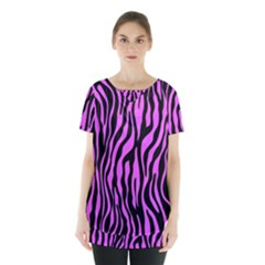 Zebra Stripes Pattern Trend Colors Black Pink Skirt Hem Sports Top by EDDArt
