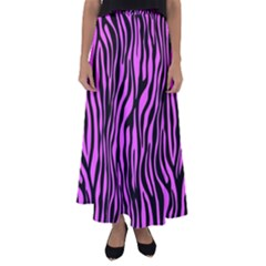 Zebra Stripes Pattern Trend Colors Black Pink Flared Maxi Skirt by EDDArt