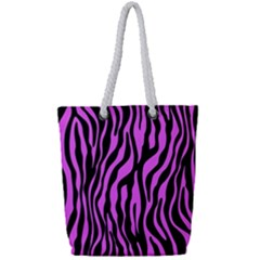 Zebra Stripes Pattern Trend Colors Black Pink Full Print Rope Handle Tote (small) by EDDArt