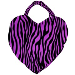 Zebra Stripes Pattern Trend Colors Black Pink Giant Heart Shaped Tote by EDDArt