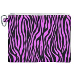 Zebra Stripes Pattern Trend Colors Black Pink Canvas Cosmetic Bag (xxl) by EDDArt