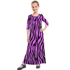 Zebra Stripes Pattern Trend Colors Black Pink Kids  Quarter Sleeve Maxi Dress