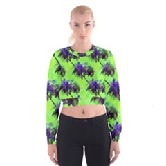 Palm Trees Lime In The Coconut Cropped Sweatshirt by CrypticFragmentsColors