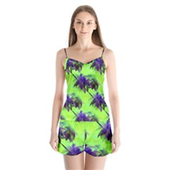 Palm Trees Lime In The Coconut Satin Pajamas Set