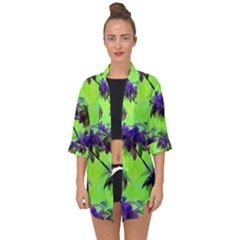 Palm Trees Lime In The Coconut Open Front Chiffon Kimono by CrypticFragmentsColors