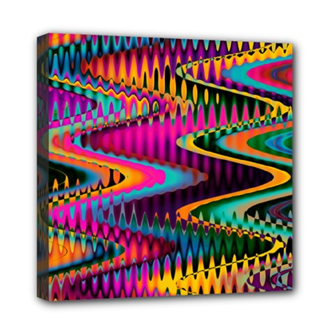 Multicolored Wave Distortion Zigzag Chevrons Mini Canvas 8  X 8  by EDDArt