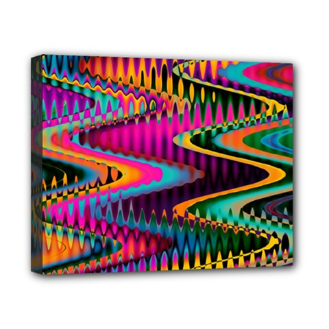 Multicolored Wave Distortion Zigzag Chevrons Canvas 10  X 8  by EDDArt