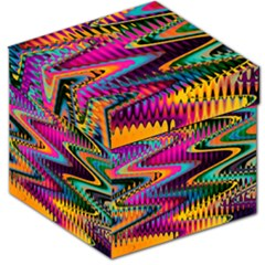 Multicolored Wave Distortion Zigzag Chevrons Storage Stool 12   by EDDArt