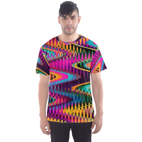Multicolored Wave Distortion Zigzag Chevrons Men s Sports Mesh Tee by EDDArt