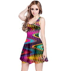 Multicolored Wave Distortion Zigzag Chevrons Reversible Sleeveless Dress by EDDArt