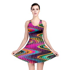 Multicolored Wave Distortion Zigzag Chevrons Reversible Skater Dress by EDDArt