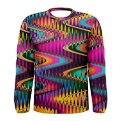 Multicolored Wave Distortion Zigzag Chevrons Men s Long Sleeve Tee by EDDArt