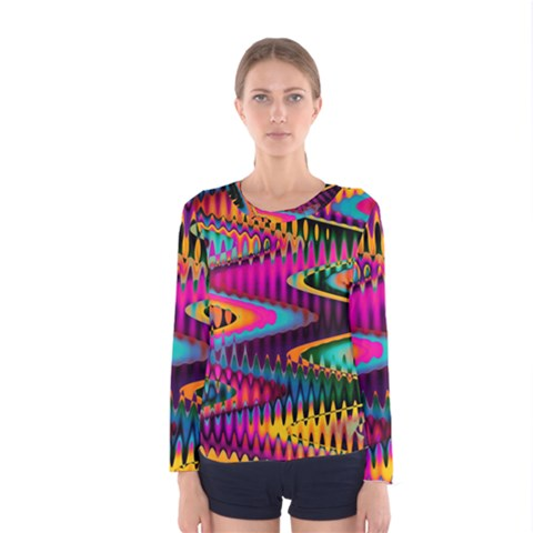 Multicolored Wave Distortion Zigzag Chevrons Women s Long Sleeve Tee by EDDArt