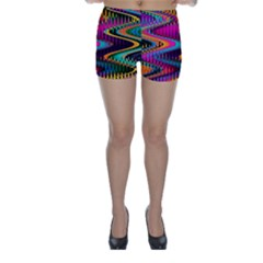 Multicolored Wave Distortion Zigzag Chevrons Skinny Shorts by EDDArt