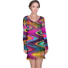 Multicolored Wave Distortion Zigzag Chevrons Long Sleeve Nightdress by EDDArt