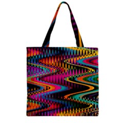 Multicolored Wave Distortion Zigzag Chevrons Zipper Grocery Tote Bag by EDDArt