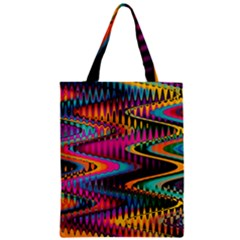 Multicolored Wave Distortion Zigzag Chevrons Zipper Classic Tote Bag by EDDArt