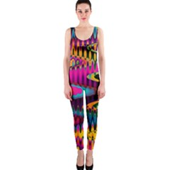 Multicolored Wave Distortion Zigzag Chevrons One Piece Catsuit by EDDArt