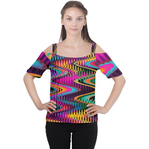 Multicolored Wave Distortion Zigzag Chevrons Cutout Shoulder Tee by EDDArt