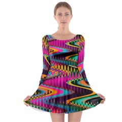 Multicolored Wave Distortion Zigzag Chevrons Long Sleeve Skater Dress by EDDArt