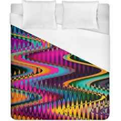 Multicolored Wave Distortion Zigzag Chevrons Duvet Cover (california King Size) by EDDArt